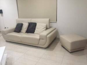 Set of Cream Italian Leather Lounges - 6 Pieces * Like New * Condell Park Bankstown Area Preview
