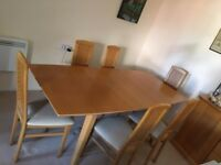 Dining Room Table and 6 chairs - Beech wood extendable table and chairs.