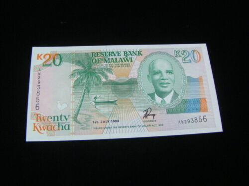 Malawi 1993 20 Kwacha Banknote Gem Uncirculated Pick #27