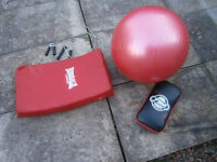 Boxing pads, MMA, excellent condition, wire weighted skipping ropes, 5ft solid bar, gym ball.