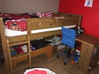 Children's Top Bunk M&S Bed with pull out desk