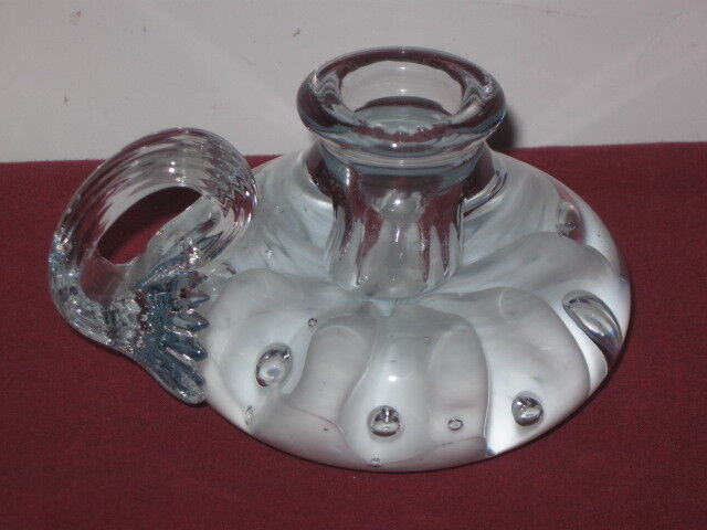 GIBSON GLASS ,  CRYSTAL CANDLE HOLDER,  WITH WHITE FLOWER, MARKED 2000  --  RARE