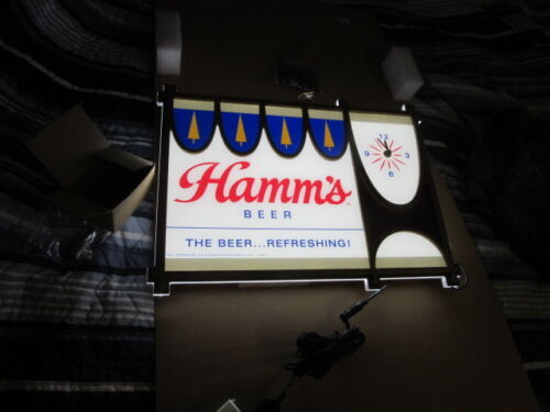HAMMS BEER SIGN ELECTRIC MOTION CLOCK LED LIGHT UP REC ROOM BAR PUB NEW IN BOX