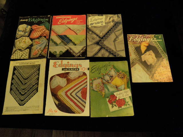 vtg 1950s all Handkerchief Edging Pattern book 7p LOT Crocheting Tatting lace A3