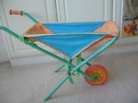 small childs folding garden toy play wheelbarrow metal and canvass £1