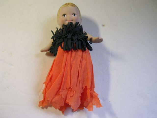 """5 1/2"""" Halloween Doll w/Bisque Head Arms & Half Body and Crepe Paper Body"""