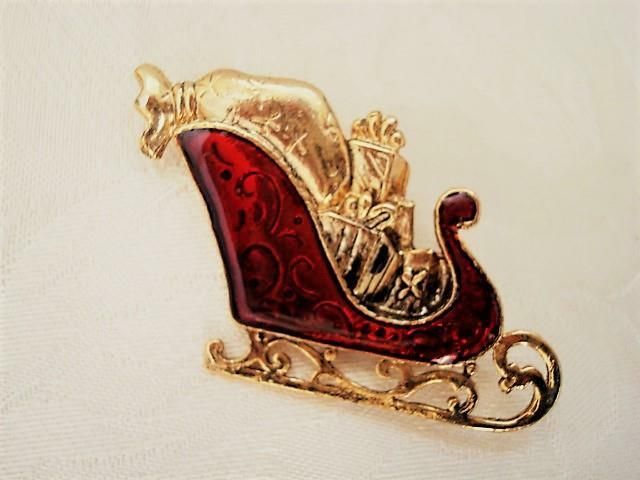Gold Tone and Red Sleigh Pin Brooch With Christmas Presents