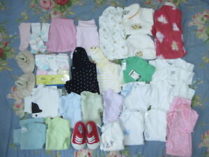 48 Pieces Clothes Lot Baby Girl 0-6 Months  ~ALL NEW or LIKE NEW