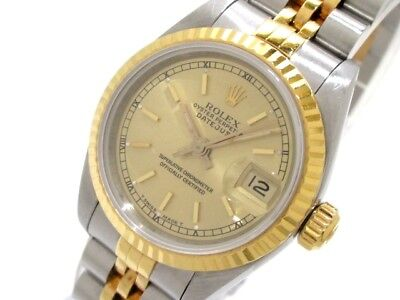 Auth ROLEX Datejust 69173 Silver Gold Women