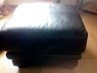 Black Leather Pouffe . 28'' x 18'' Inch