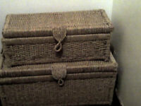 2 lovely wicker trunks storage boxes