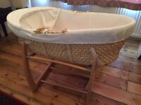 Mamas and Papas moses basket and rocking/locked base with mattress and covers