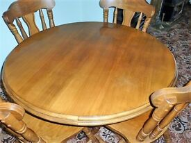 3ft 6 inches 1.70 mtr Round Solid Wood Pedestal Dining Table with Four Heavy Carved Chairs