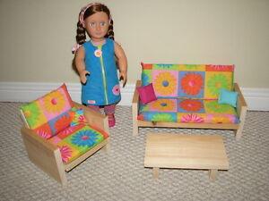 Solid Wood Doll Furniture - Living Room set - fits American Girl