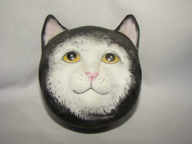 Vintage CAT HEAD MUSIC BOX, Mt. Clemens Pottery, CATS MUSICAL Memories AS IS