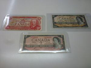 Quelques Billets de banque des années 1954 et 1975 en bon état