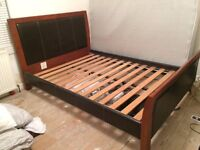Solid wood and Leather double bed frame with Silent Night Mattress