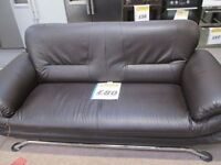 ***CHEAP*DARK BROWN FAUX LEATHER THREE SEATER WITH CHROME LEGS SOFA SET+DELIVERY AVAILABLE*