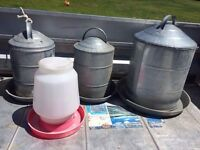 Poultry feeders and waterers
