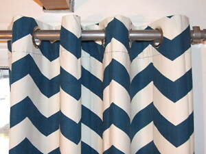 Teal/White Grommet Curtains