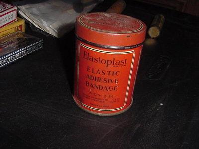 Elastoplast Elastic Adhesive Bandage - VINTAGE ELASTOPLAST ELASTIC ADHESIVE BANDAGE TIN CAN WITH PAPERS 30s 40s