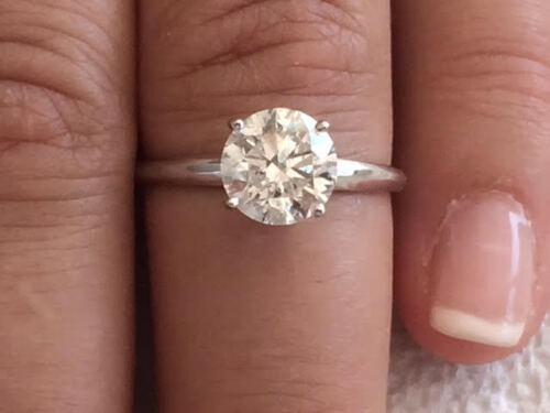 2.10ct ROUND CUT solitaire diamond engagement Ring 14k WHITE GOLD D COLOR VS2