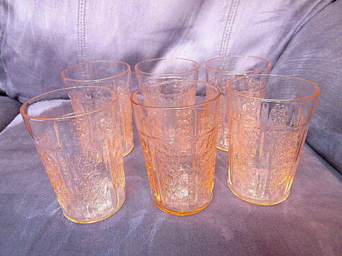 5 Federal Glass Co Pink Sharon Cabbage Rose 12 Ounce Ice Tea Flat Tumblers