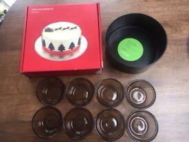 Baking items: Cake tin, John Lewis Cake decorating kit, 8 Lovenware glass ramekins. Collect Fulham