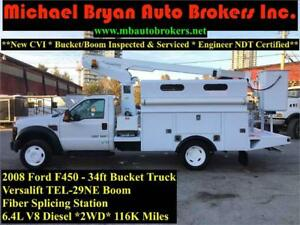 2008 FORD F450 34FT BUCKET TRUCK W/FIBER SPLICING WORK AREA
