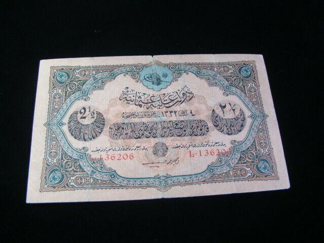 Turkey 1916-17 2 1/2 Livres Banknote Fine+ Pick#100