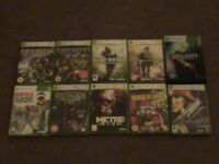 10 Xbox 360 Games, Rapala Bass Fishing, Various COD inc. Hardened Edition.