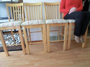 4  beautiful high ,solid wood dining,kitchen, bar chairs