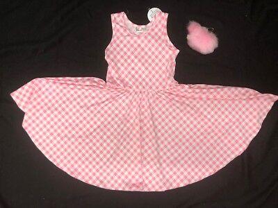 - Dot Dot Smile Sleeveless Beautiful Girls Dress Pink White Checkers  Size 7