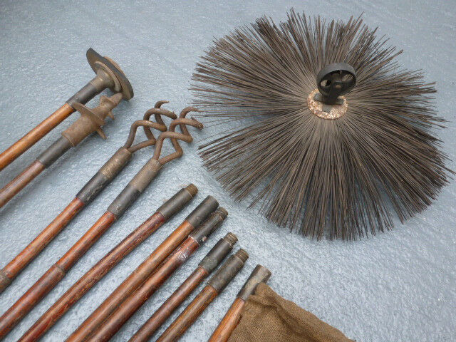 antique chimney sweep brush possibly victorian bamboo cane rods ...