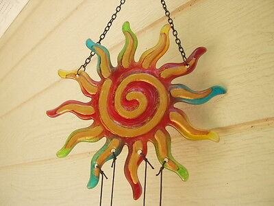 Glass Wind Chimes 23 inch Large Art Glass Shining Sun with 6 Bars FREE SHIP