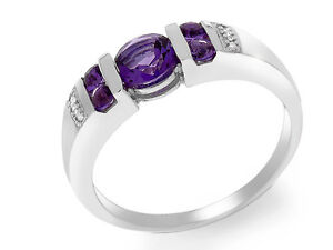 9ct White Gold 0.75ct Amethyst & Diamond Ring Size: M