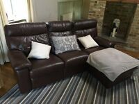 Brown Leather Electric Recliner Sofa Suite