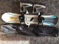 snow board 163 rubber tipped , bag , bindings and boots size 9 rubber tipped