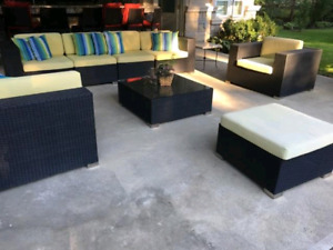 Modern outdoor patio resin weaved sectional set