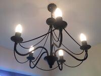 Black Iron Effect 2x3 bulb and 1x5 bulb chandeliers including bulbs