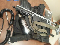 Tippmann A5 HK416, Mask, Vest, Tank, Remote Line, 2 Stocks, Plus