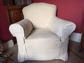2 Armchairs with Cream Covers