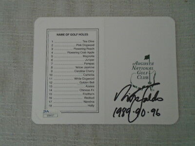 Nick Faldo Signed Augusta National Golf Club Masters Scorecard 3X Winner JSA