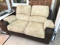 Pair of beige manual reclining sofa's. Buyer Collects.