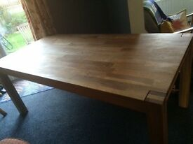 Used Brooklyn oak dining table and 4 oak chairs - good condition
