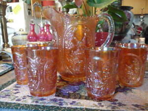 Fine Large Marigold Carnival Glass Pitcher And Tumbler Set