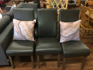 SET of 2 Grey Leather Dining Chair