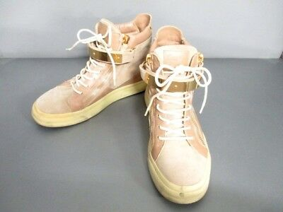 Auth giuseppe zanotti Beige Ivory Leather &  Suede Sneakers US#8