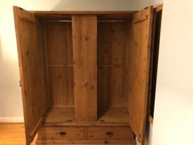 Solid rustic pine triple wardrobe with 2 drawers at base