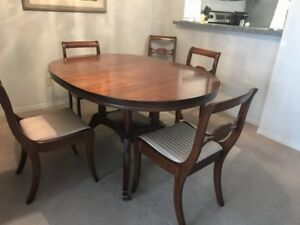 Antique Solid Mahogany Table, 2 Leaves, 6 Chairs + Sideboard